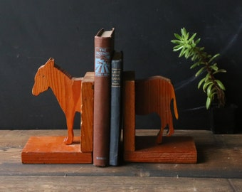 Vintage Wood Donkey Bookends Hand Made Library Animal Home Decor Vintage At Nowvintage on Etsy