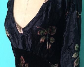 1980's black floral print crushed velvet dress with deep v-neck SMALL