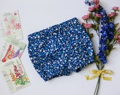 Blue Daisy~ 0-6 month Bloomers, Blue Floral Bloomers, Diaper Cover, Ready To Ship
