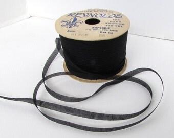 Vintage French Ribbon Silk Rayon Jet Black Reynolds France 1/4 inch rib0222 (2 yards)