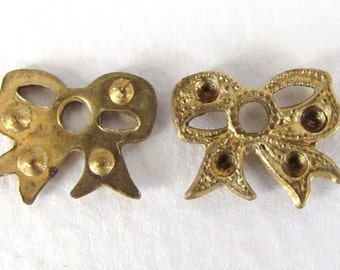 Vintage Brass Stamping Bow Finding Ribbon Charm Rhinestone Setting 13mm stp0086 (6)