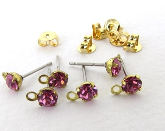Vintage Earring Post Earwires With Rose Pink Swarovski Crystal Rhinestone Brass Finding erw0160 (6 pc, 3 pair)