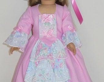 Designer Summer Tea or garden dress fits American Girl 18 in. dolls. Created for Elizabeth or Felicity  No. 669