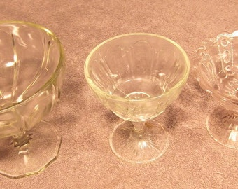 Group of 3 Clear Pressed Glass Compotes