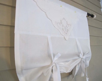 White on White Vintage Embroidery Tie Up Shade Custom Made to Order Lace Trim Tie Up Curtain Swag Balloon