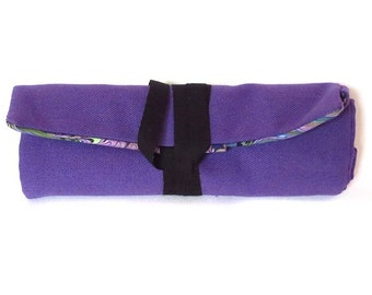 fabric pen roll - purple canvas and book marble print - 8 slots for markers, pens, pencils, brushes, and more