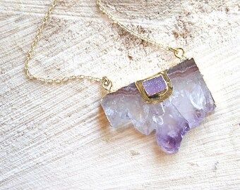 Raw Amethyst Slice Pendant 18K Yellow Gold Filled Necklace February Birthstone one of a kind Febuary Birthstone D5