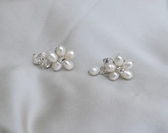 Bridal Earrings / Bridal Fresh Water Pearl & Austrian Crystal Earrings/ Pearl Earrings / Vintage Inspired Earrings