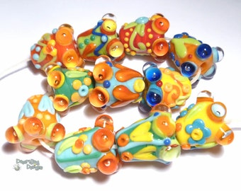 BELLETTES Lampwork Beads Handmade Bright COlors Red Yellow Green Orange Blue Bell Cone SHapes Set of 11