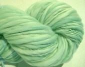 Handspun Yarn Serenity 108 yards hand dyed merino wool pastel green yarn blue yarn waldorf doll hair knitting supplies crochet supplies