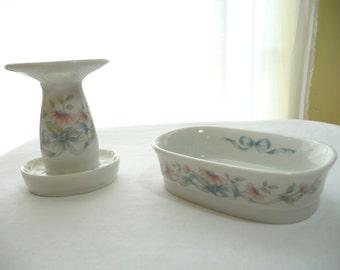 Vintage Bathroom Set, Princess House, Fine Porcelain, Toothbrush Holder, Soap Dish, Flowered, Bathroom Decor, Unique Set, Vintage Home Decor