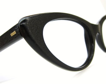 Vintage Black Wood Grain Italian Cat Eye Eyeglasses Frame UNIQUE