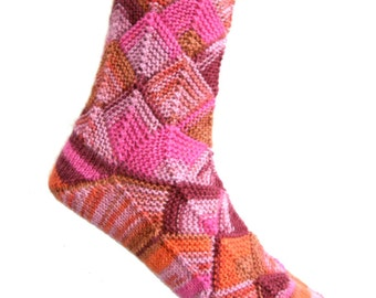 Fairytale socks Pink/Orange, size EU 40-41-42/UK 8-9/US 10-11