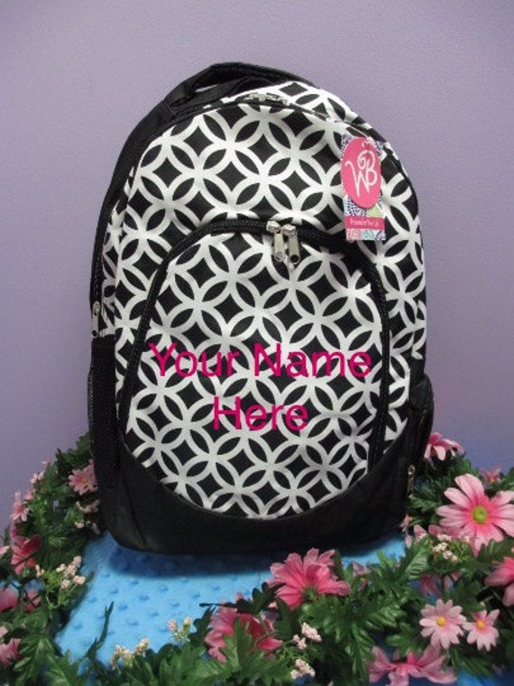 Backpack Black and White Interlocking Circles with Personalized Embroirdery