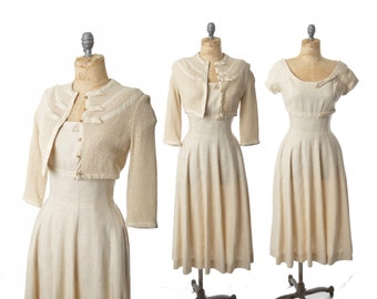 "vintage 50s dress / oatmeal linen dress set / Moygashel linen 1950s dress .. xs / 24"" waist"