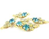 2 - Earring Dangles Swarovski Crystals Brass Prong Settings Rhinestone Drops - Aqua & Sand Opal - 15x6mm