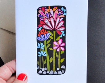 Greeting Card - Tall Flowers Grow in the Midnight Garden by Megan Jewel Designs