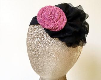 Clearance Sale Pink Sparkle Rosette Black Stretch Headband girls flapper costume prop