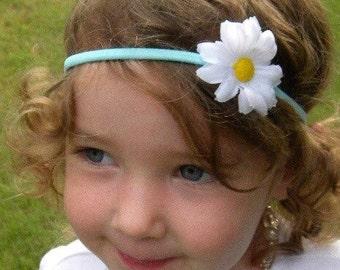 White Daisy Spring Flower Skinny Stretch Headband