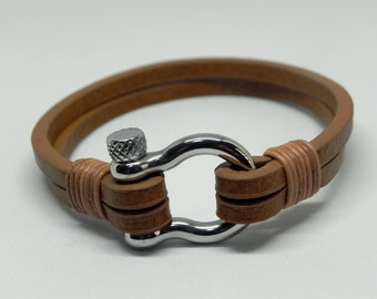 Tan Leather Wrap Bracelet Leather Bracelet Leather Cuff with Stainless Shackle Clasp