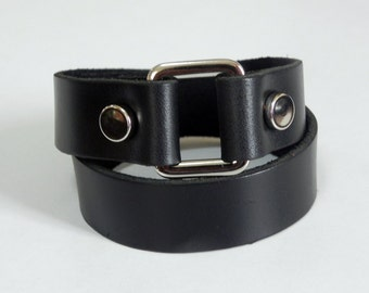 Double Wrap Black Leather Cuff Leather Bracelet with Rectangle Metal Silver Tone