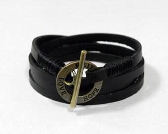 Black Wrap Leather Bracelet Leather Cuff Bracelet with Bronze Toggle Clasp
