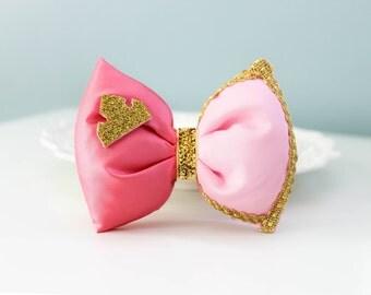 Sleeping Beauty Hair Bow; Aurora HairClip; Disney Princess Hair Accessory; Handmade Inspired Bow; Sleeping Beauty Bow, Black Friday Sale