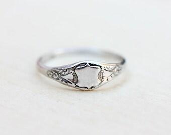 Delicate Silver Shield Ring
