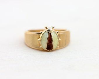 Vintage Yellow Ladybug Ring - Size 4.75