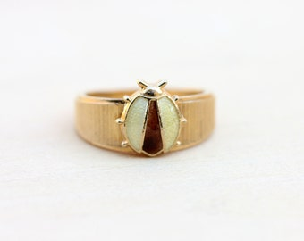 Vintage Yellow Ladybug Ring - Size 4.75 or 6