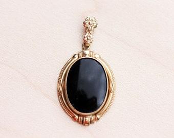 10K Vintage Onyx Necklace Pendant