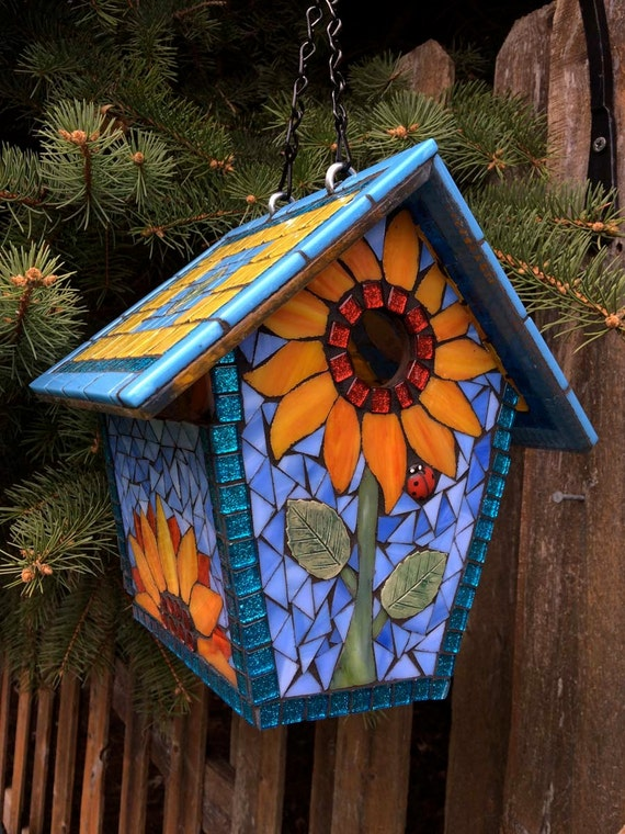 Birdhouse Stained Glass Mosaic Goldfinch Amp Sunflowers