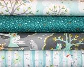 Les Amis, Backyard Baby Bundle, Fabric, Main, Dusk, Gray,Grey, Aqua,Trees, Woodland, Forest, Modern, Unisex, Baby, Girl, Boy, In Custom Cuts