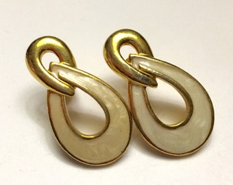 Ivory Enameled Gold Tone Swirled Drop  Post Earrings Avon Vintage