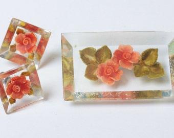 Orange Flower Lucite Brooch and Earrings Vintage