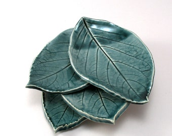 Ceramic Leaf Plates-Teal Pottery-Pottery Leaf Plates-Tapas Plates-Appetizer Plates