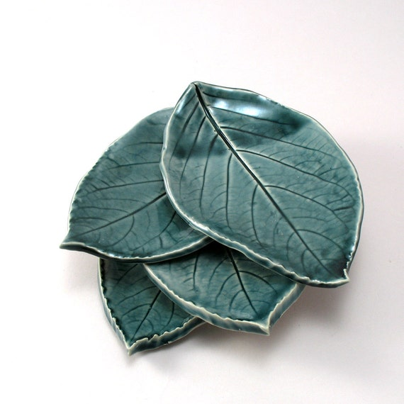 Ceramic Leaf Plates-Teal Pottery-Pottery Leaf Plates-Tapas Plates-Appetizer Plates