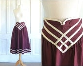 Jessica's Gunnies Skirt ~ Gunne Sax Skirt ~ High Waist ~ Ribbon Trim Midi Skirt ~ 70s Victorian Boho Skirt - 24 inch waist