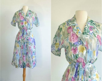 80s does 50s Sheer Floral Dress Watercolor Print - extra small to small