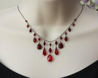 Garnet Red Beads Necklace, Retro Trend, Vintage Style, Oxidized Silver, Dark Red Garnet, Downton Abbey Style, Goth, Women Fashion, Trending