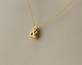 Ampersand & Symbol, Gold Charm Necklace, for Girlfriend, Geometrical, Cute Necklace, Minimalist, Delicate Necklace, for Layering, for Summer