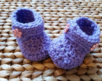 Crochet Baby Boots - Light Purple with Pink Flowers -  0-3 Months - free shipping included!