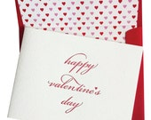 Happy Valentine's Day Letterpress Greeting Card with Heart Liner