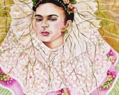 Frida Kahlo - Dreaming Diego Happy Birthday Frida 2016 Original Oil Painting on Canvas  by k Madison Moore