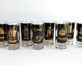 Vintage Las Vegas Casino Hotel Highball Glasses Set of 8 Historic Gambling Strip Sin City