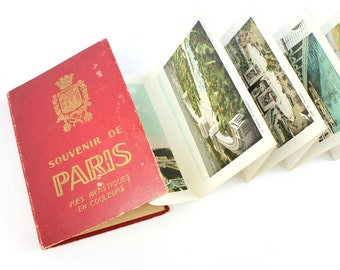 Vintage Paris Souvenir Photo Album Book Tinted Color Prints