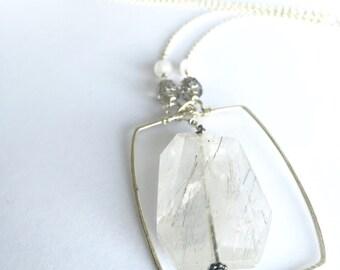 Long Crystal Pendant, Sterling Crystal Jewelry, Quartz Pendant