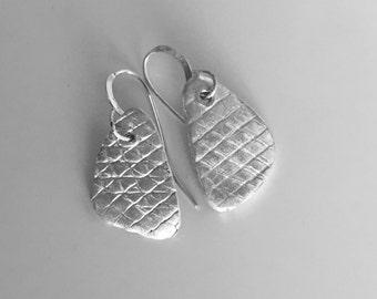 Sterling Silver Earrings Textured Sterling Dangle Earrings
