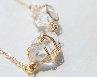 Herkimer Diamond Necklace, Healing Crystal Jewelry, Rough Stone Necklace, Gold Filled, Boho Chic