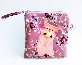 Rose Zipper Pouch, Coin Purse Cat, Coin Purse, Small Coin Pouch, Gift For Mom, Cat Purse - Gift For Her